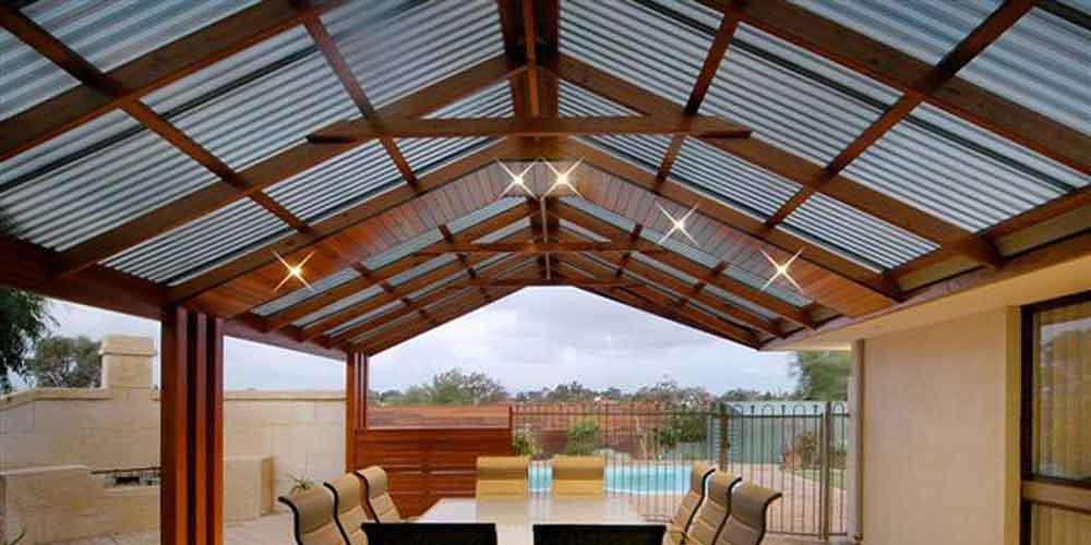 A gabled roofed pergola